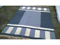 "Very Large Geometric Patterned Hem Wool Rug 69"" x 94"""