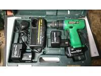 Hitachi Cordless Drill, 3x batteries, Charger, case