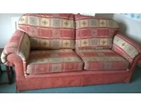 Settee, Armchair and Pouffe, good condition, removable washable covers.