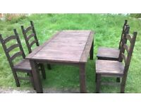 Rustic look dining table with chairs Very impressive