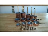 Vintage brass and copper French lined pans