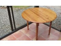 Circular pine table - folding sides - 106cm diameter – 67 cm wide with sides folded