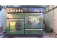 RANGEMASTER 110CM DUEL FUEL RANGE COOKER IN BLACK & GREEN GLASS LID