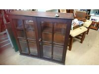 Wooden display cabinet with glass doors, good condition W 102cm H 92cm