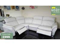 Designer Grey Leather 3 piece corner sofa (149) £999