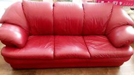 3+1 seater red leather sofa £50