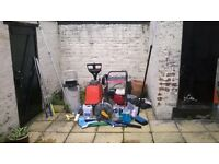 new petrol pressure washer, carpet cleaner, and other cleaning stuff