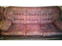 3 seater sofa and 2 x arm sofas being given away immediately. Very comfortable.