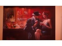 """Beautiful dark Picture man and woman relaxing with wine signed by the artist 27,5"""" x 19,5"""" £10"""