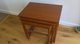 teak style nested tables