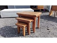 Nest of Three Solid Wood Tables - Heavy - Great Condtion