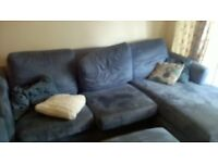 3 seater cloth sofa and arm chair doulble bed combo