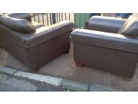 1 seater & 2 seater chocolate brown chairs