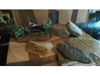 Fish tank ornament and rocks