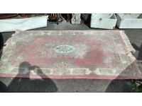 PINK PATTERNED RUG MEASURES APPROX 156CM X 248CM