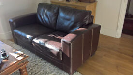 Pair of brown leather sofas. 210 and 160 long, x 85 high.Free to collector