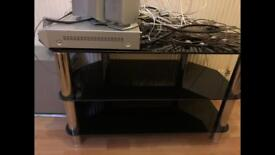 Black Glass Heavy TV Stand