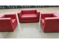 RED SOFA 2 SEATER + 2 SINGLE SEATERS SITS 4