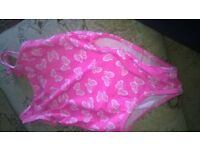 swimming costume pink with whte butterflies