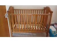 Mothercare Antique Pine Highgate Dropside Cot 60x120cm with John Lewis Spring Mattress