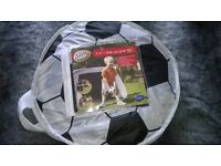 FOOTBALL NET POP UP, EITHER INDOOR OR HAS PINS FOR OUTDOOR. EXCELLENT CONDITION