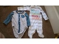 0-3 months Baby bundle! Vests, sleepsuit, t-shirt, hat, bib and pair of shorts