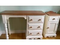 SOLD Restored cream solid pine dressing/hall table and bedside cupboard.