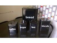 Retro Bread Bin Set, Includes Bread, Tea, Coffee, Sugar, Biscuits