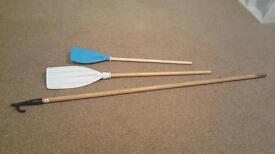 Boat hook and small adult oar and childs oar