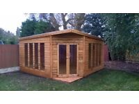 14ftx14ft 22mm Tanalised corner summerhouse