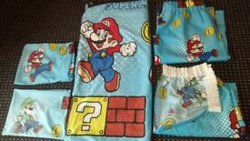 "Children's Super Mario Bedroom Set. Double Duvet, 2 Pillow Cases and a Set of Curtains 54"" Drop."