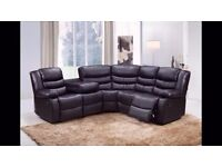 Hennery Bonded Leather Corner Recliner Sofa & 2 Cupholders! Free Delivery! *FINANCE NOW AVAILABLE!*