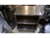 Stainless steel shelved worktop or oven base unit excellent central London bargain