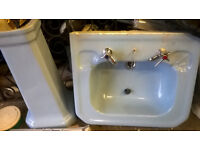 LARGE RETRO BATHROOM SINK AND PEDASTAL IN BLUE,ORIGINAL SINK FROM LATE 1950S