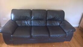 Soft Brown 100% Leather Suite 3 + 2 Sofa £400 ono - immaculate condition