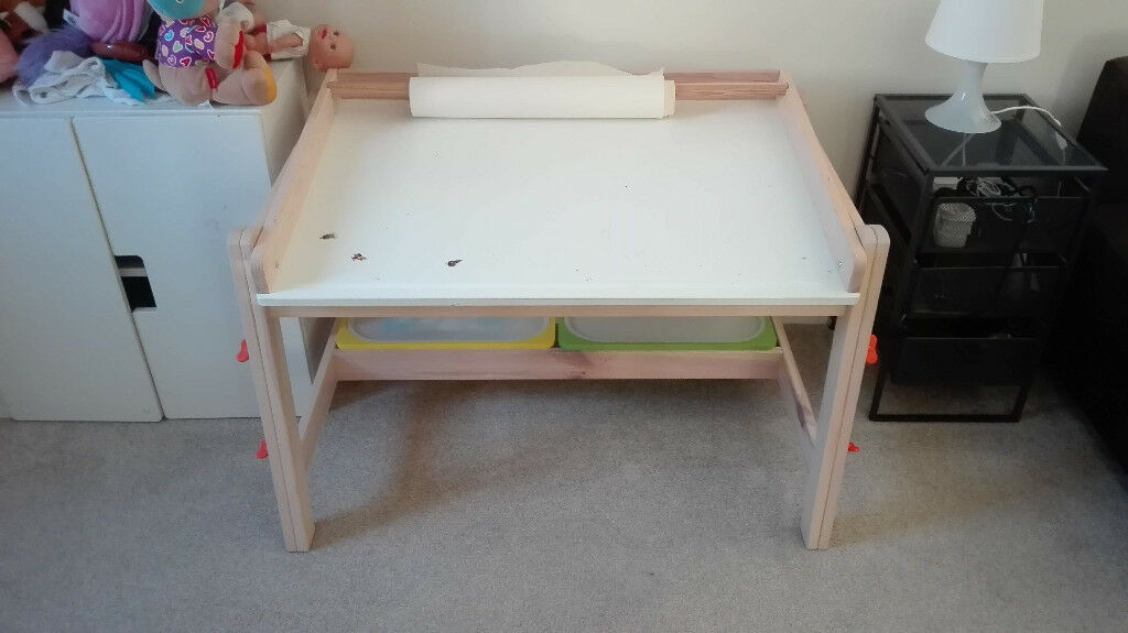 e530b4948a6c Adjustable Children s desk IKEA FLISAT (with 2 TROFAST storage boxes)