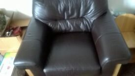 Leather armchair dfs very comfortable dark brown leather collection only