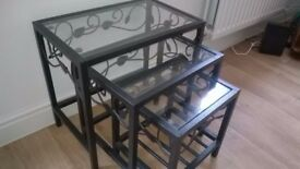 Nest of Tables Black Metal & Glass