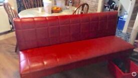 Red leather seating booth