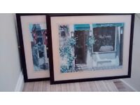 PAIR OF LARGE FRENCH CAFE SCENE PICTURES