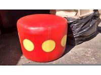 Pouffe. Retro orange/red pouffe. Orange/red vinyl, with yellow circles.
