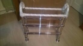 Brand new chrome heated towel rail with fittings (Delivery)
