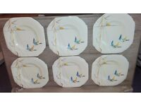 Genuine Art Deco Era ABJ Royal Grafton Set of 6 16cm Plates Flight Pattern Collectable