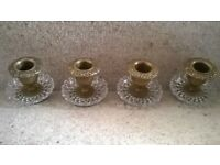 Original Antique chandlier solid brass and glass candle holders Set of four, 8cm x 8cm approx