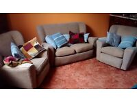Beige Sofa (x1) and Armchair (X2) Set for Sale