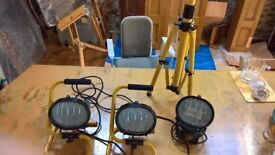Three worklights, two with handles and one with a stand. All hardly used