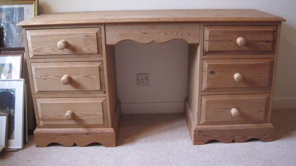 Lovely Wooden Pine Dressing Table /Desk, 7 drawers