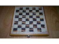 Marble/Wood Travel Chess Set 6.5 Inch, Stone/Marble Pieces