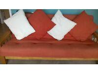 Futon Company Double Sofa Bed, light oak frame, terracotta mattress