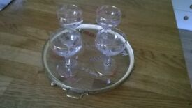 4 liqueur/sherry glasses & tray with drinking toasts from around the world.